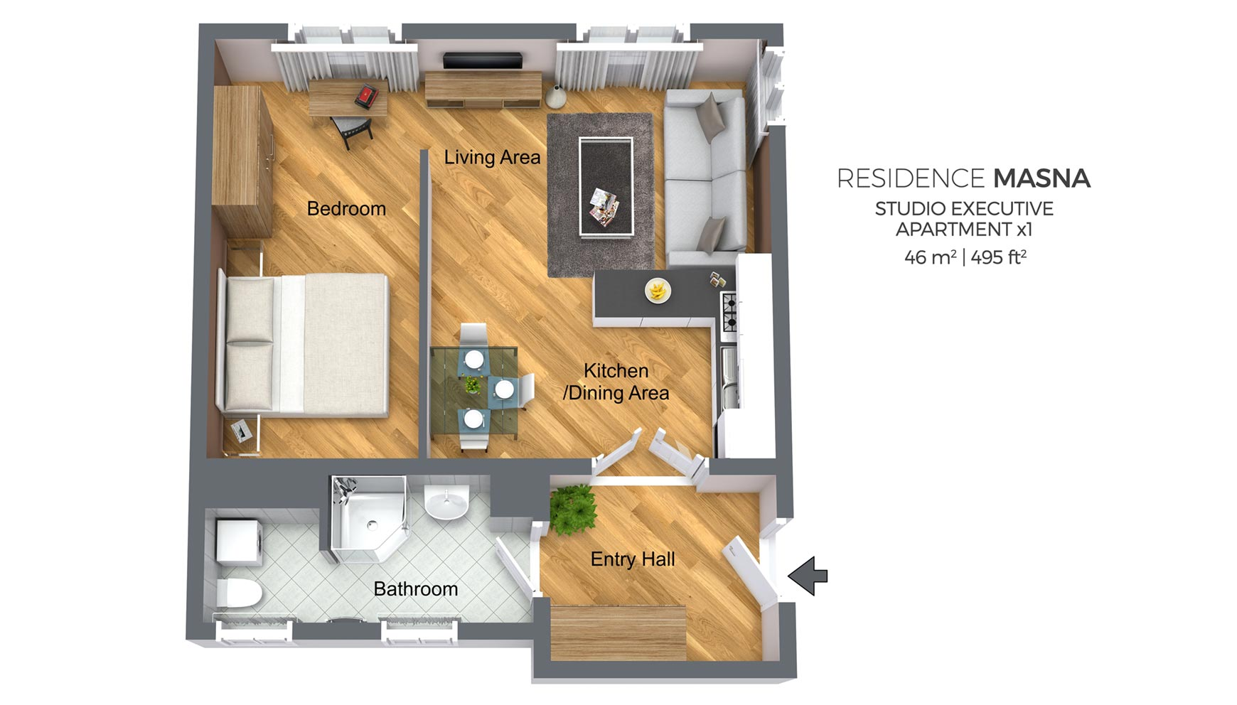 Studio Apartment Type 1 | Residence Masna