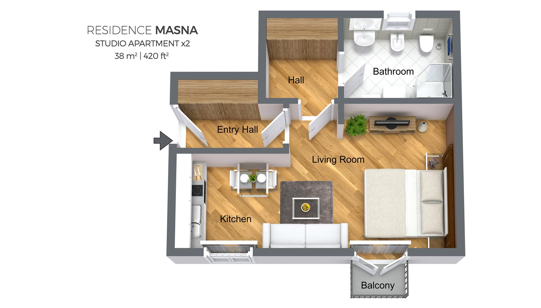 Studio Apartment Type 2 | Residence Masna